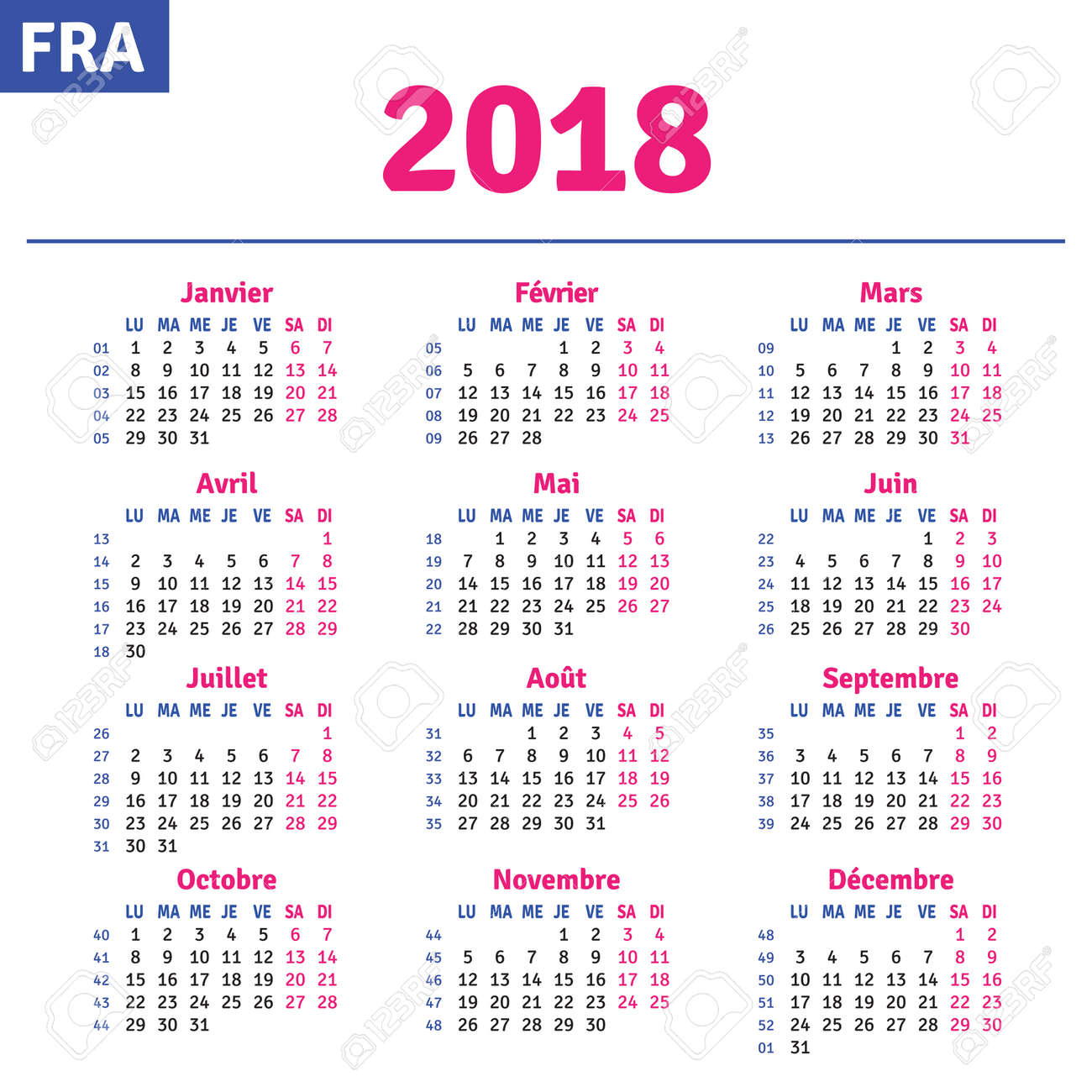 French Calendar 2018, Horizontal Calendar Grid, Vector Royalty ...