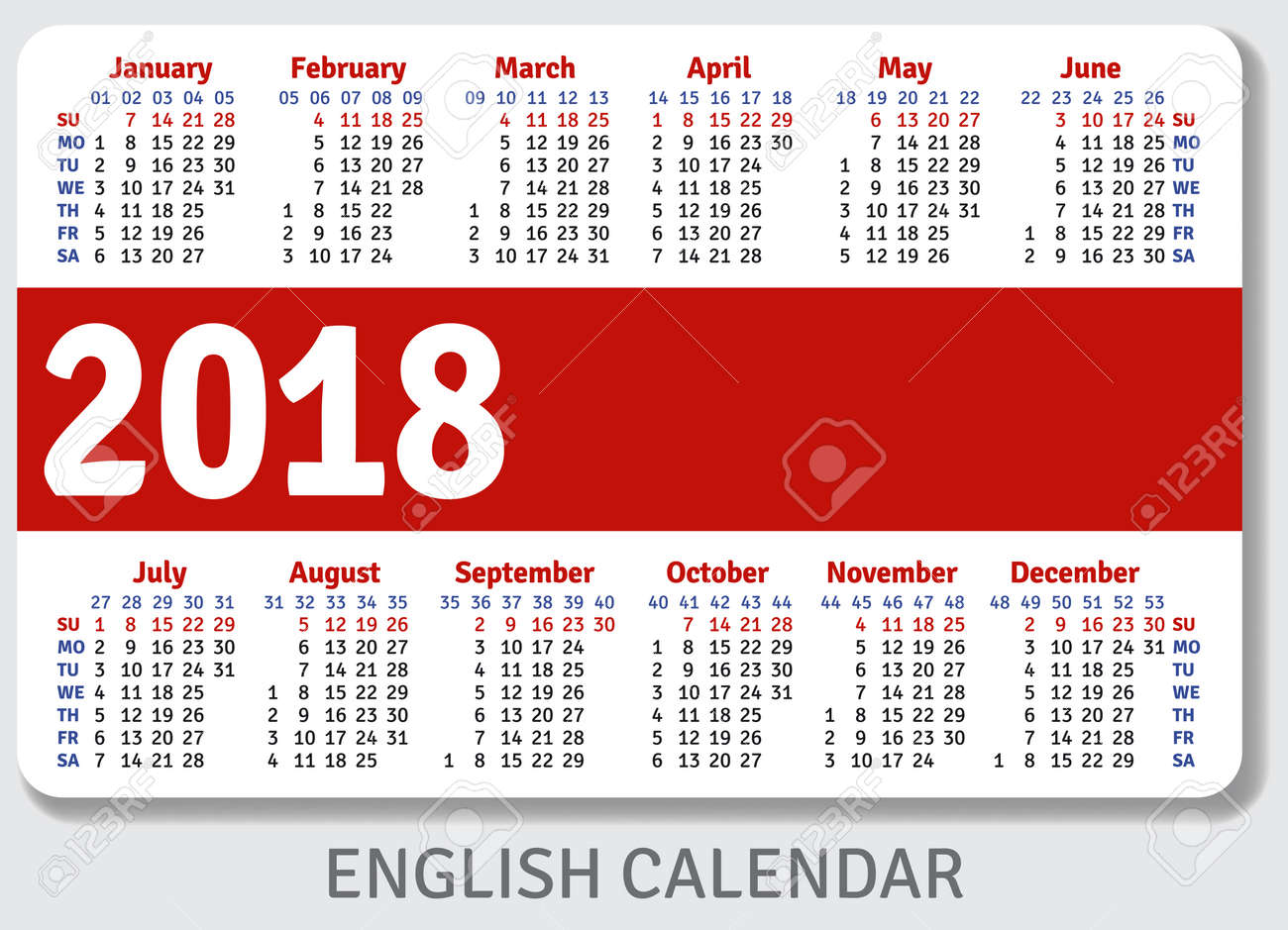 english pocket calendar for 2018 standard size iso 7810 id 1 vector template