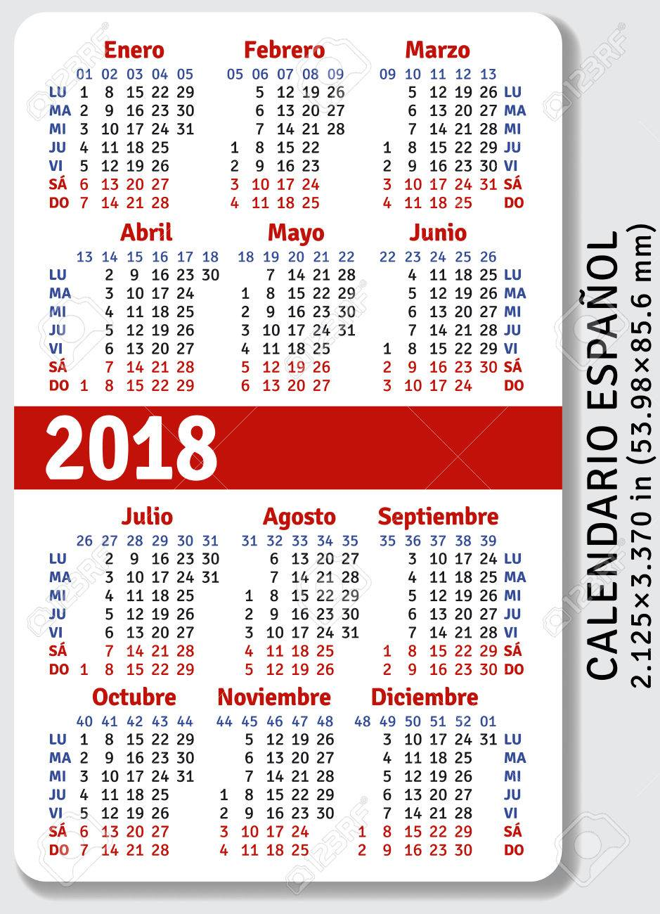 Pocket Calendar.Spanish Pocket Calendar For 2018 Standard Size Iso 7810 Id 1