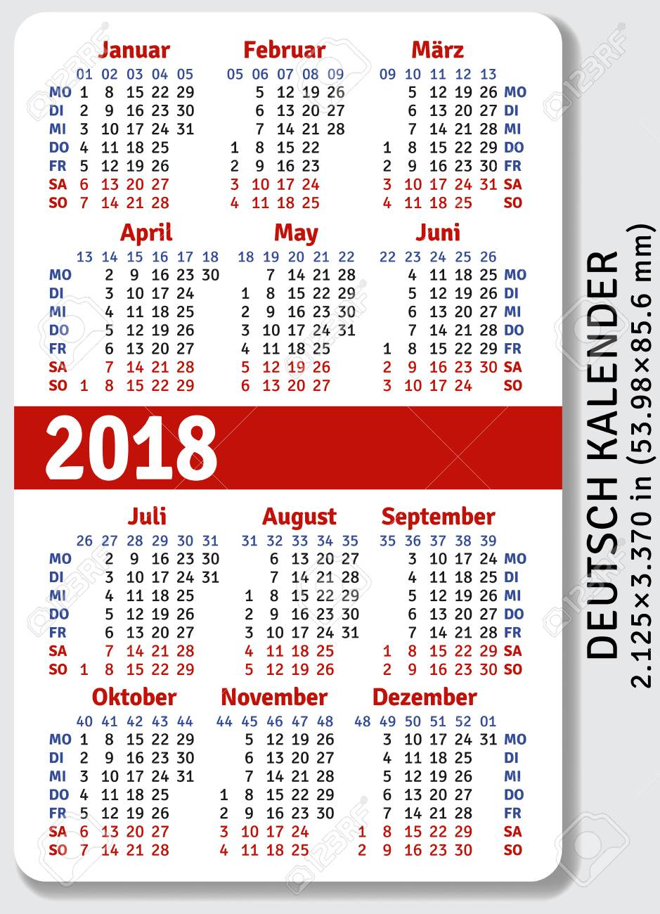 german pocket calendar for 2018 standard size iso 7810 id 1 vector template