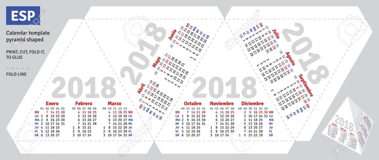 Template Spanish Calendar 2018 Pyramid Shaped Vector Royalty Free