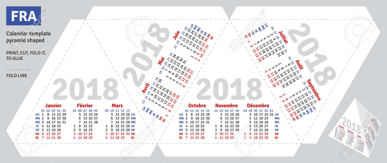 Template French Calendar 2018 Pyramid Shaped Vector Royalty Free
