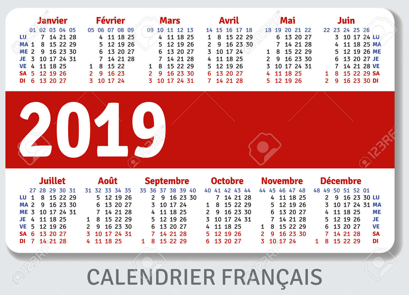Template Calendrier 2019.French Pocket Calendar For 2019 Standard Size Iso 7810 Id 1