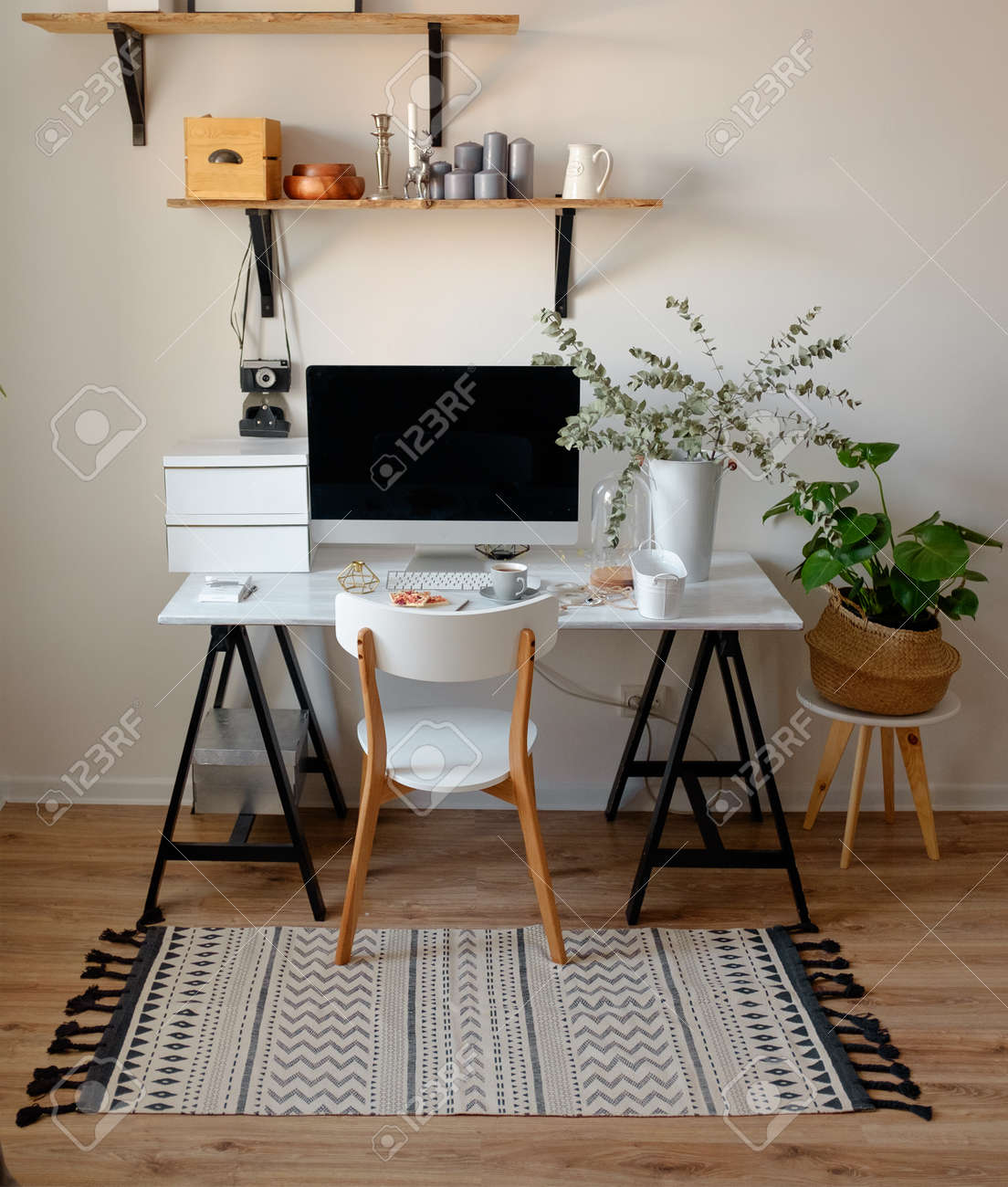 Fabulous A Chic Workplace In Scandinavian Style White Chair On The Computer Theyellowbook Wood Chair Design Ideas Theyellowbookinfo