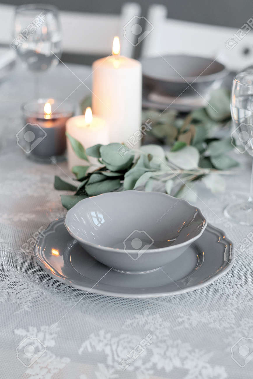 Wedding or festive table setting. Plates wine glasses candles and cutlery . Beautiful : beautiful tableware - pezcame.com