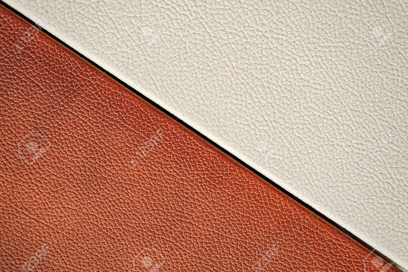 White and brown leather texture. close-up. design. - 137076648