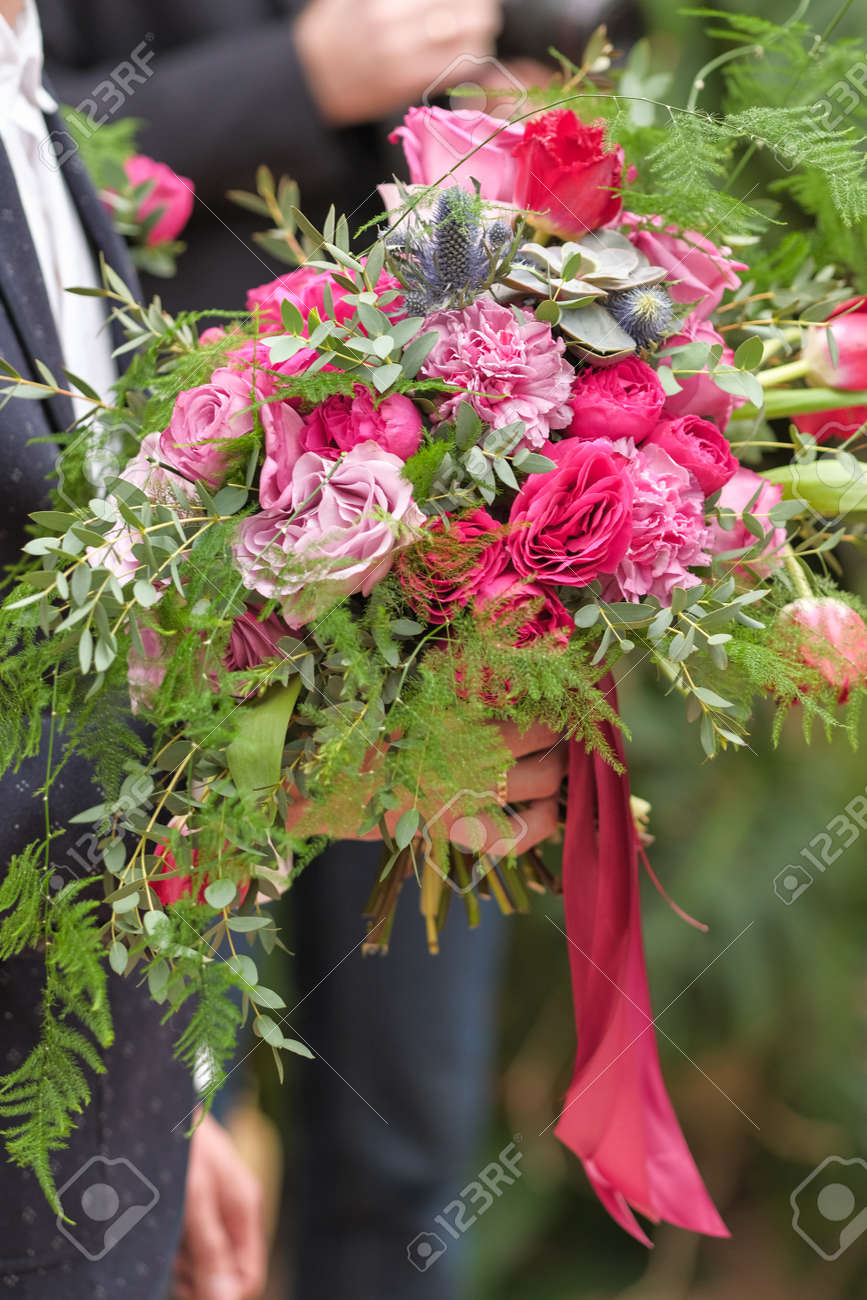 Beautiful Bright Wedding Bouquet Close Up Bride Holds A Wedding Stock Photo Picture And Royalty Free Image Image 142414113