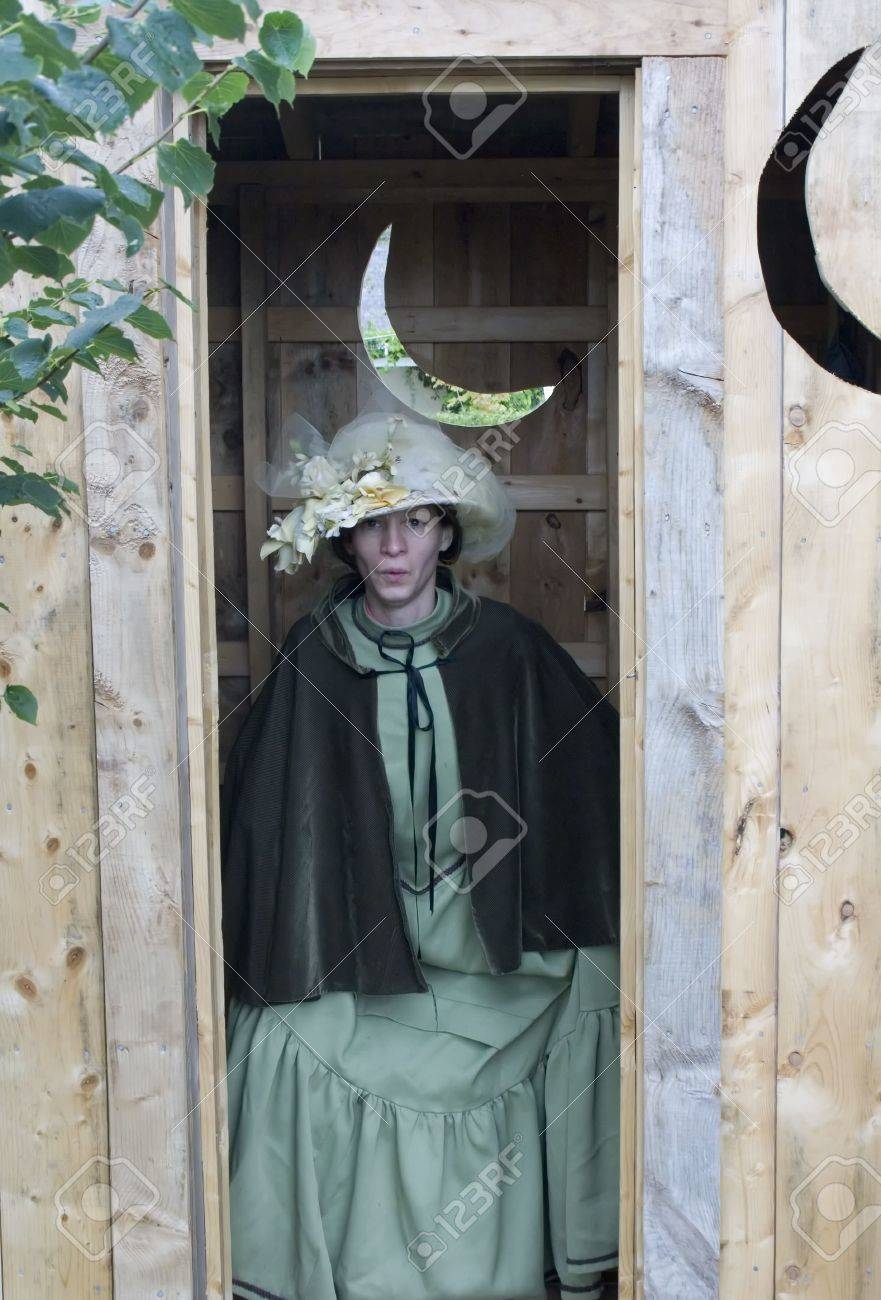 Woman Using Outhouse Stock Photo Picture And Royalty Free Image Image 5764245
