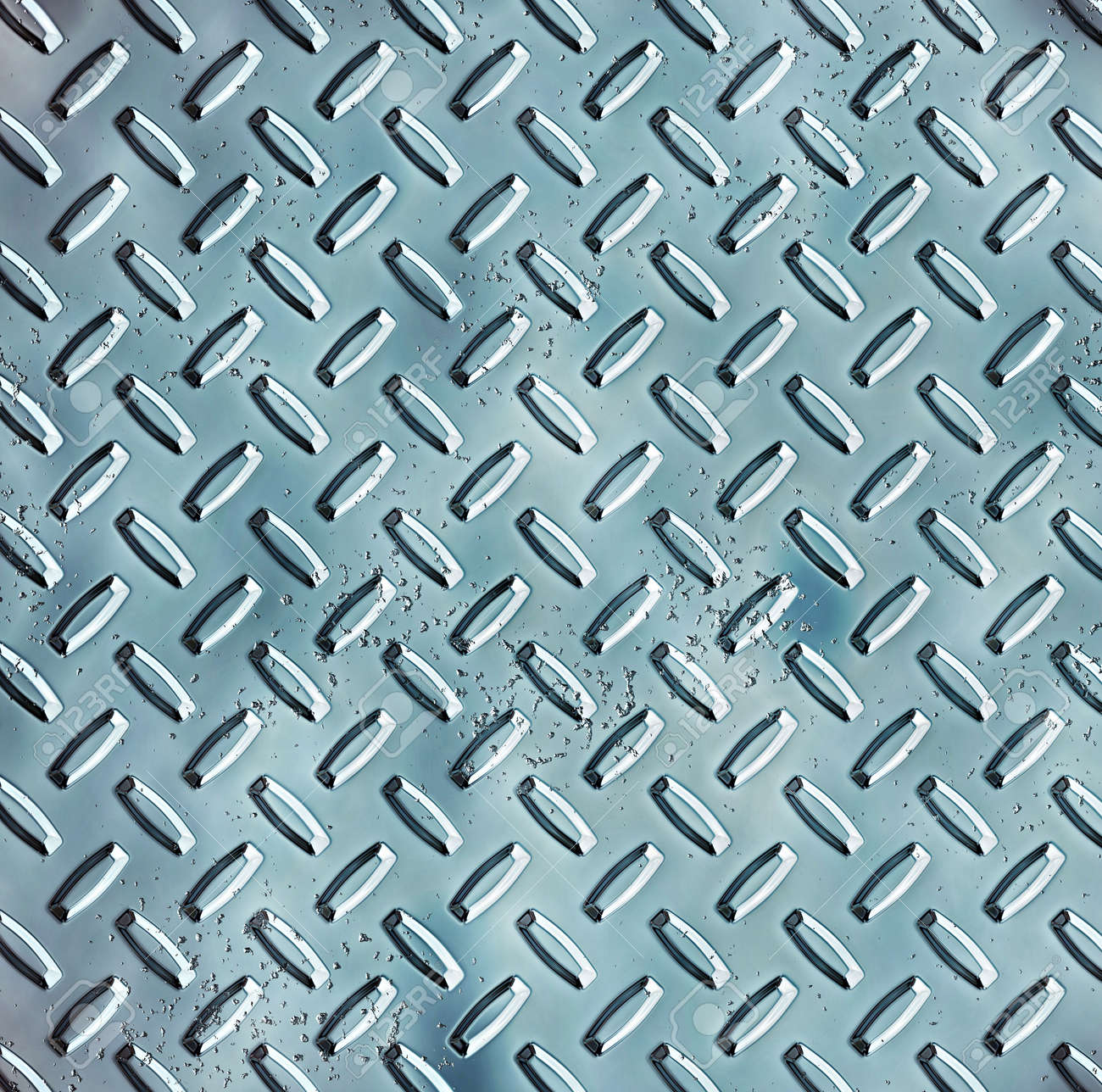 a large sheet of rough and pitted blue steel diamond or tread plate Stock Photo - 1066995
