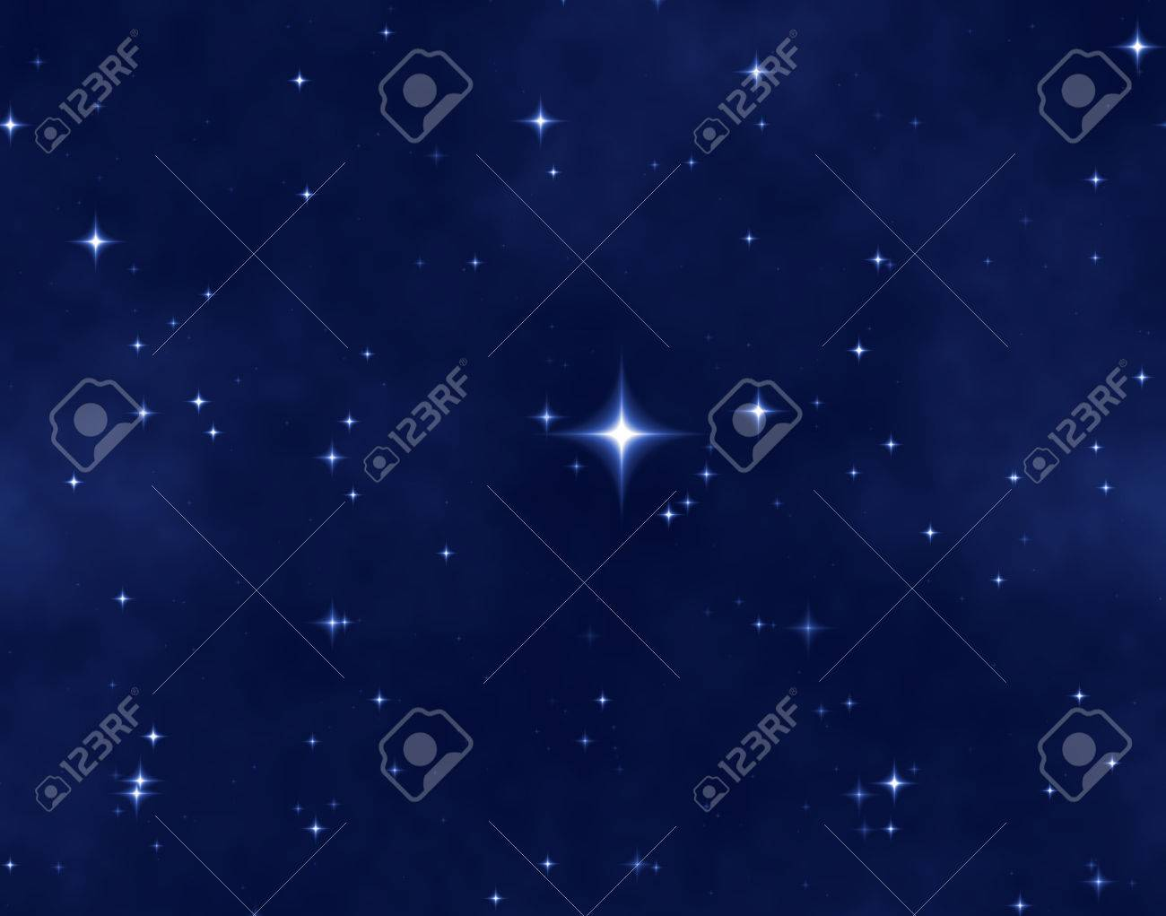 a nice blue star field of bright and shining stars and one bright star Stock Photo - 1471217