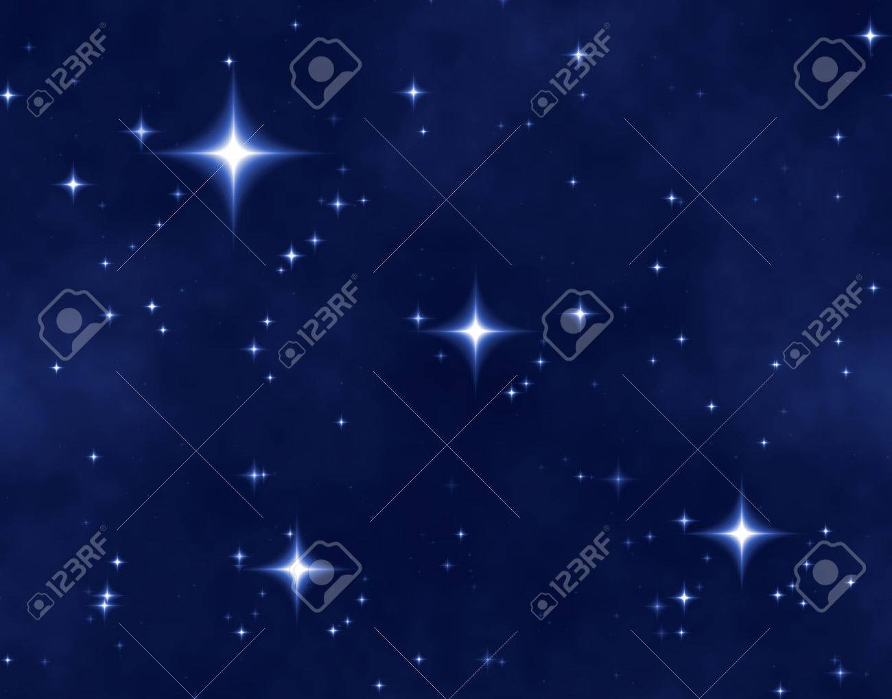 a nice blue star field of bright and shining stars and one bright star Stock Photo - 1583591