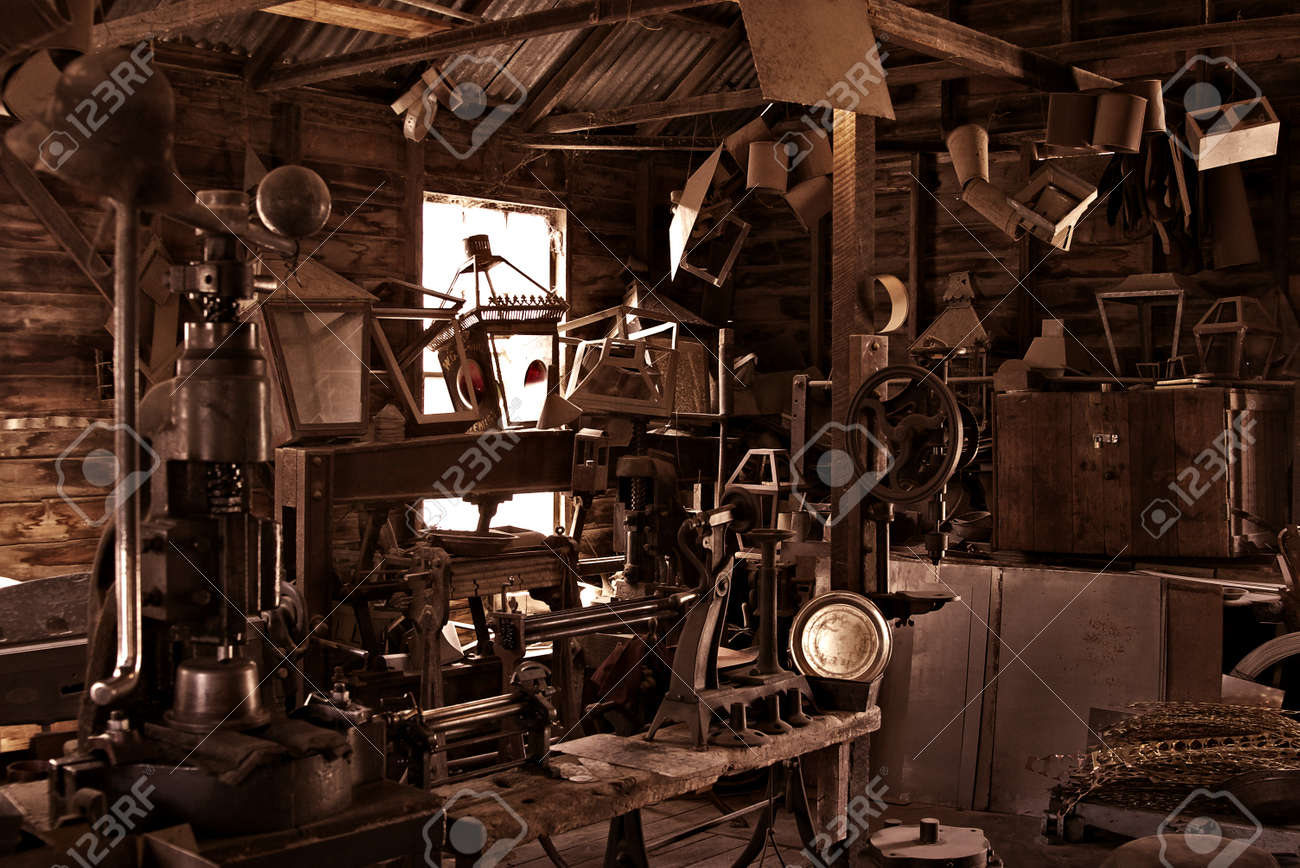 an old busy and cluttered workshop in russet Stock Photo - 1728310