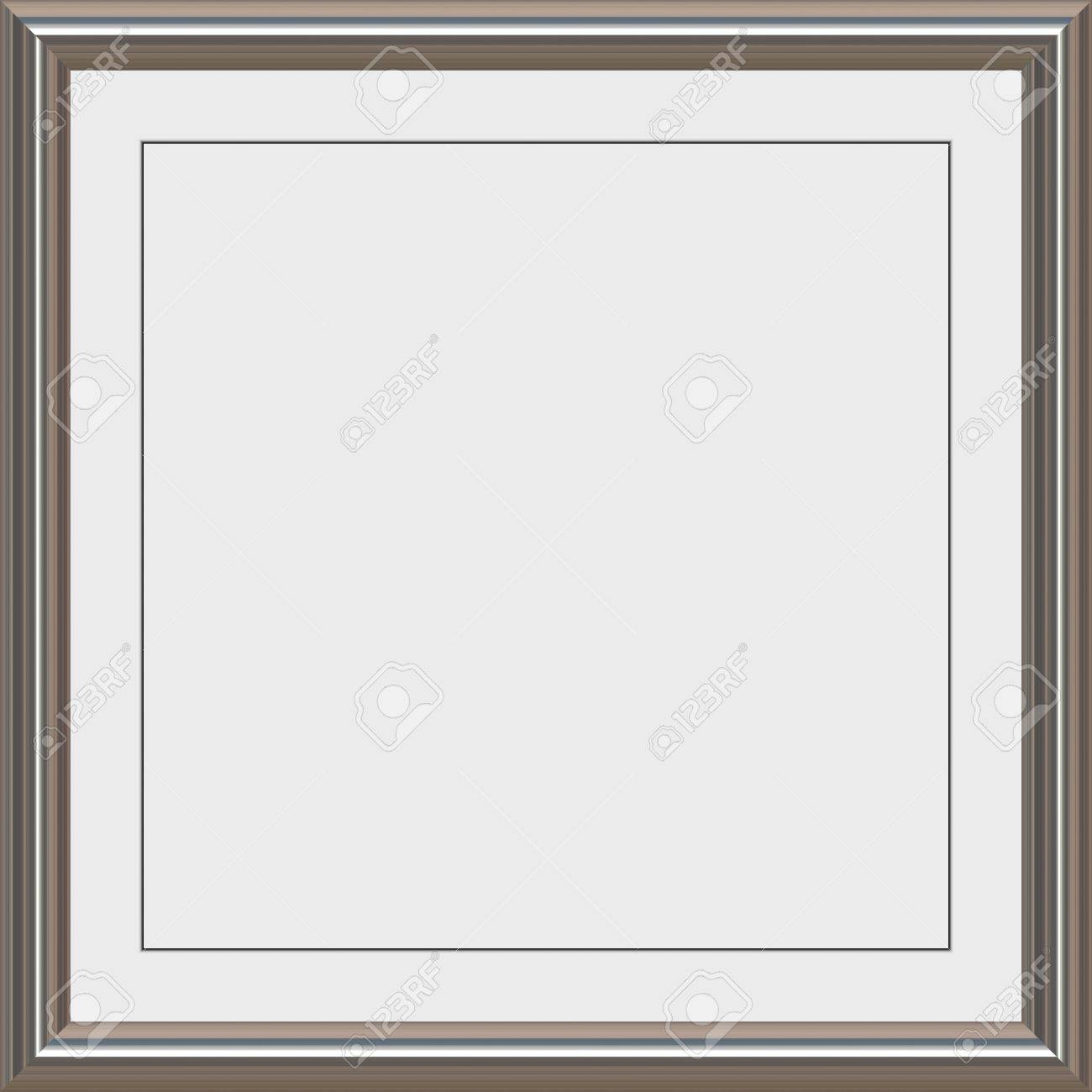 stock photo shiny metal frame with white matte for certificates awards or photos