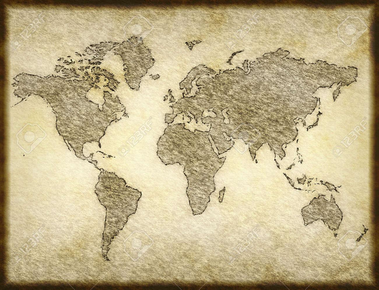 Carte Du Monde Parchemin ancienne carte du monde esquissé sur papier parchemin