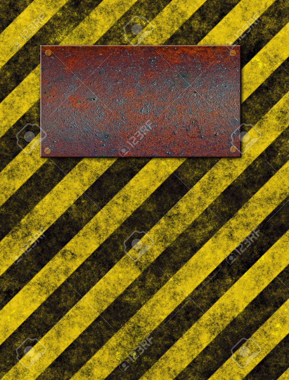 old grungy yellow warning sign with rusted metal plaque Stock Photo - 2422704
