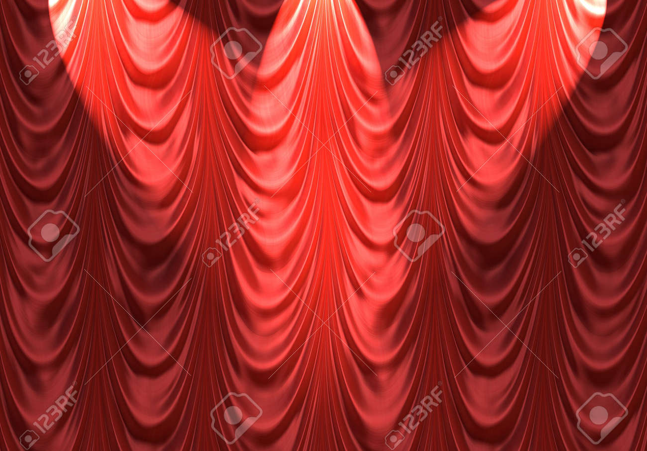 Red velvet curtains stage - Stock Photo Luxurious Red Velvet Curtains Such As On A Stage Or Theatre With Spotlights