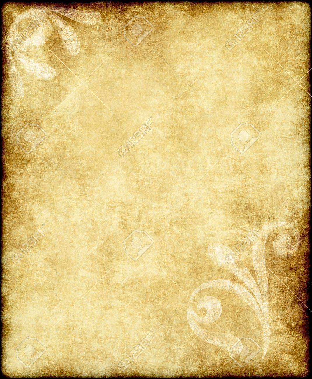 Well-liked Large Old Paper Or Parchment Background Texture With Large Floral  DD92