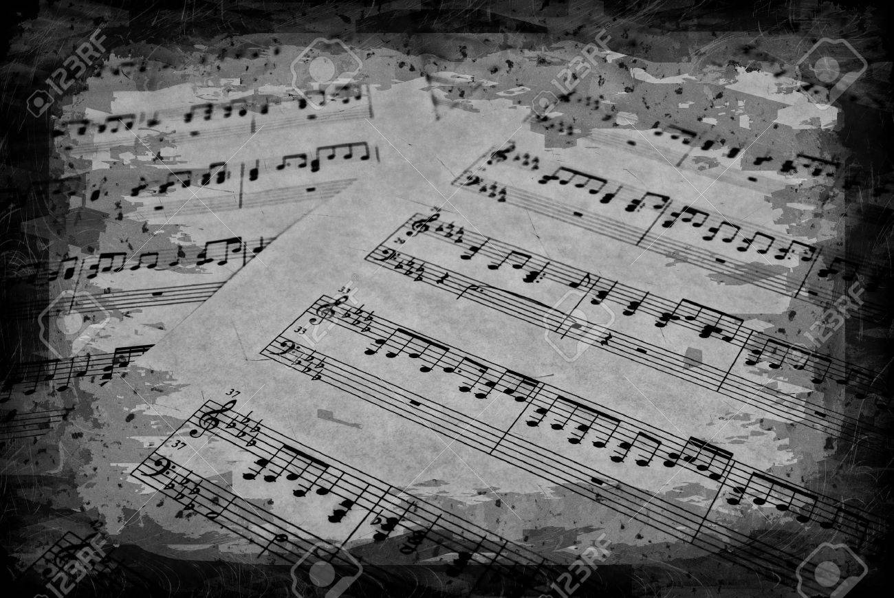 great image of musical notes on parchment paper Stock Photo - 3228800