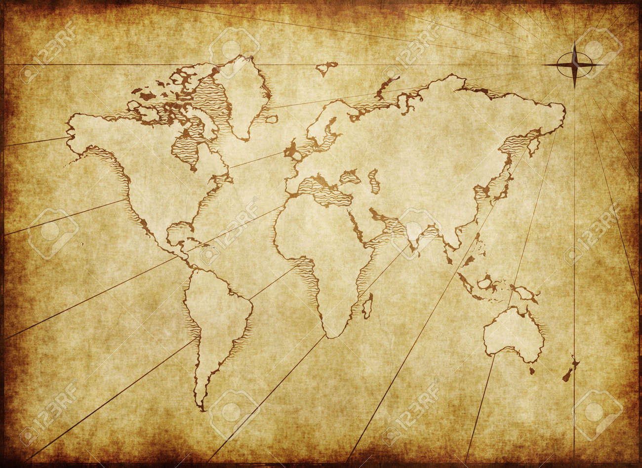 An Old World Map Drawn Onto Parchment Paper Stock Photo Picture And