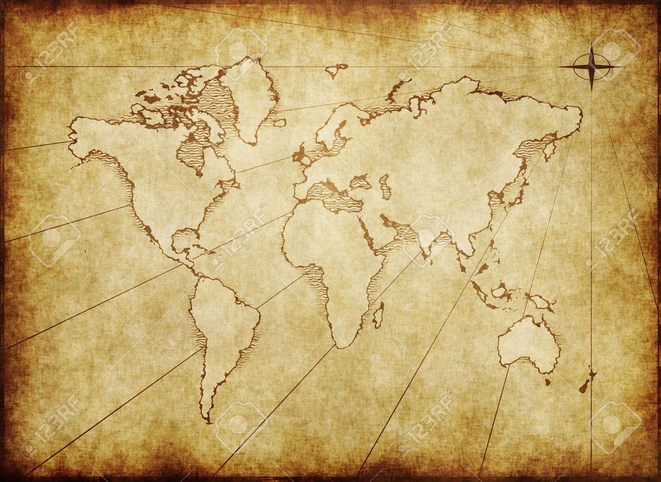 Carte Du Monde Parchemin une ancienne carte du monde établie sur papier parchemin
