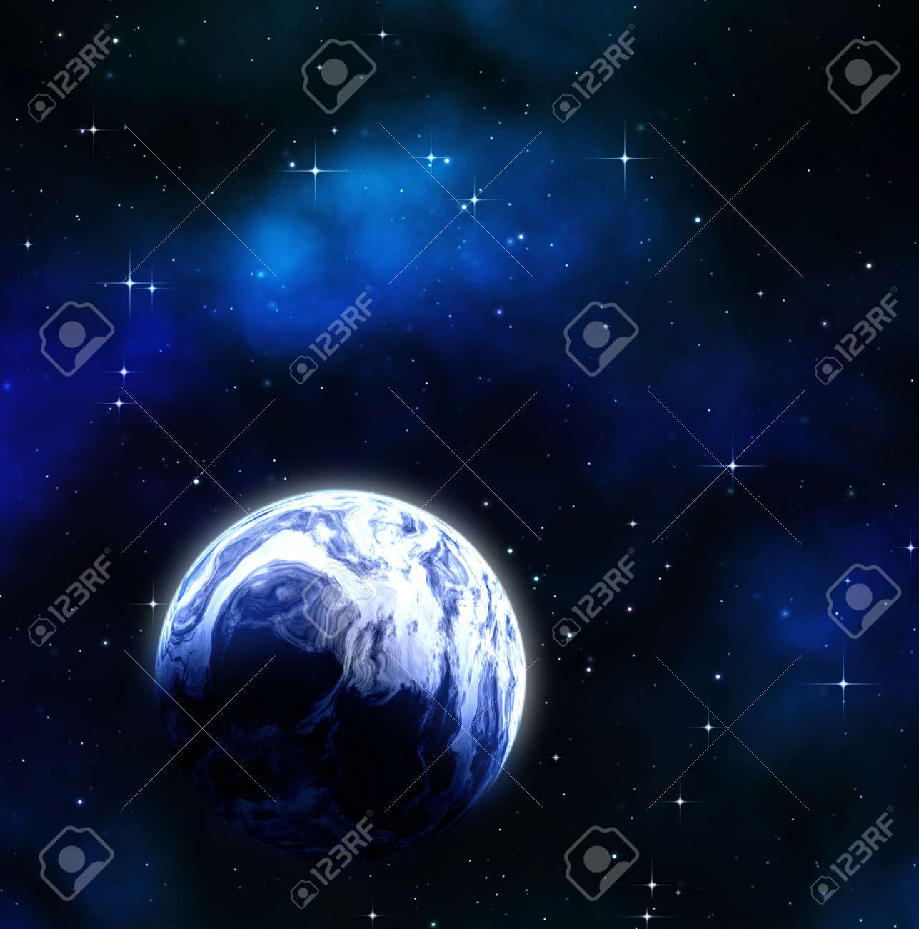 great image of a blue earth like planet in space Stock Photo - 5473632