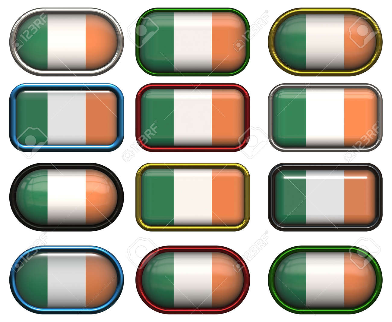 twelve Great buttons of the Flag of Ireland Stock Photo - 6343729
