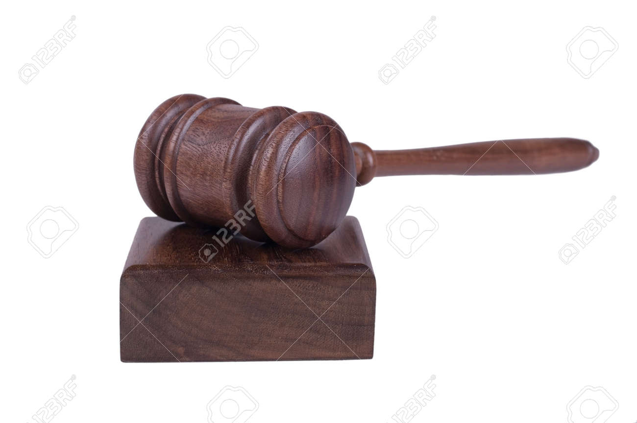 Image Of A Judges Gavel Isolated On White Background Stock Vector