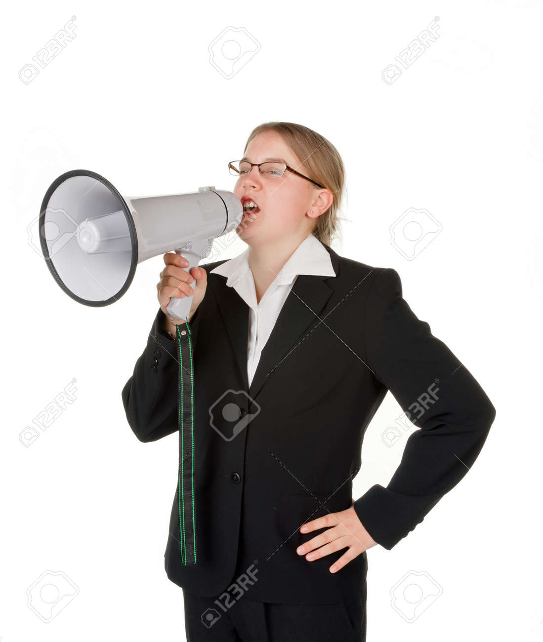young business woman with megaphone isolated on white background Stock Photo - 7267495