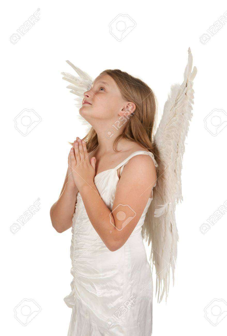 Young Angel Girl Praying Isolated On White Background