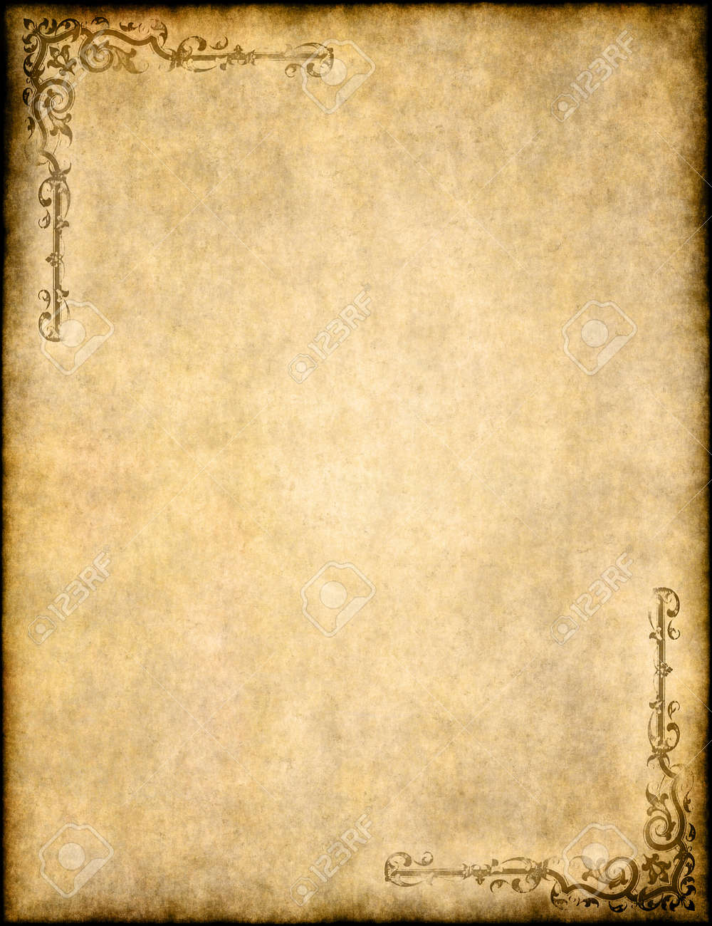 old parchment paper texture with ornate design stock photo picture