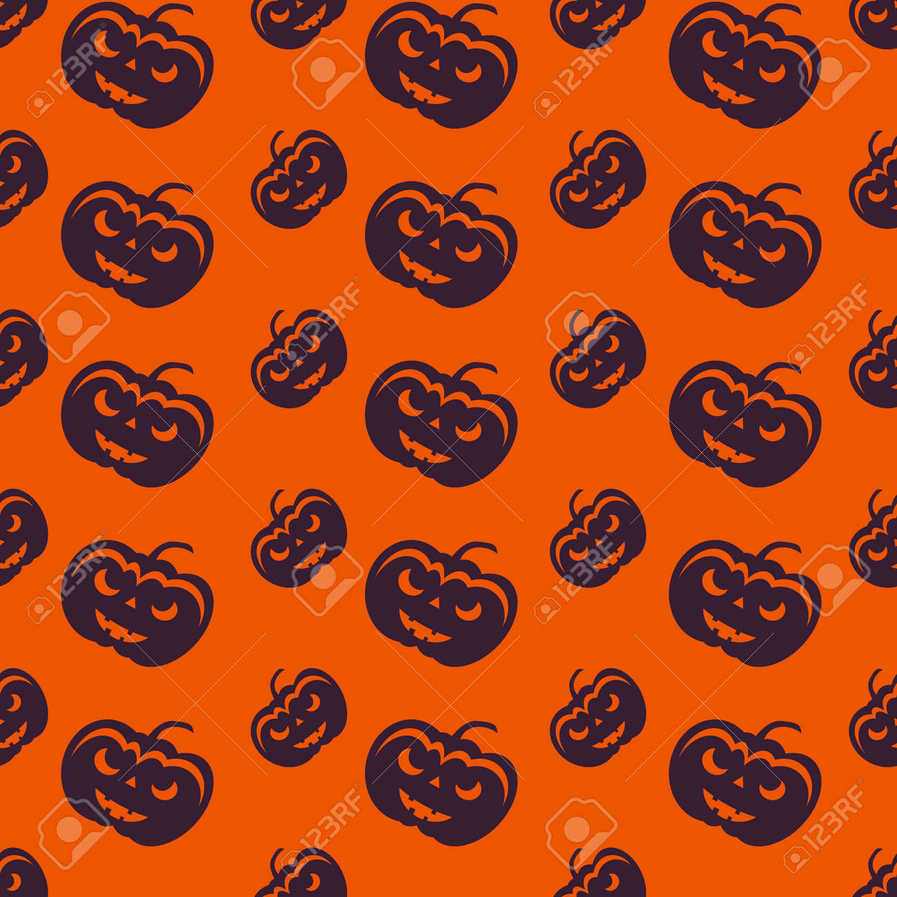 Happy Halloween Background. Seamless pattern. Collection of seamless patterns in the traditional holiday colors. - 44353648