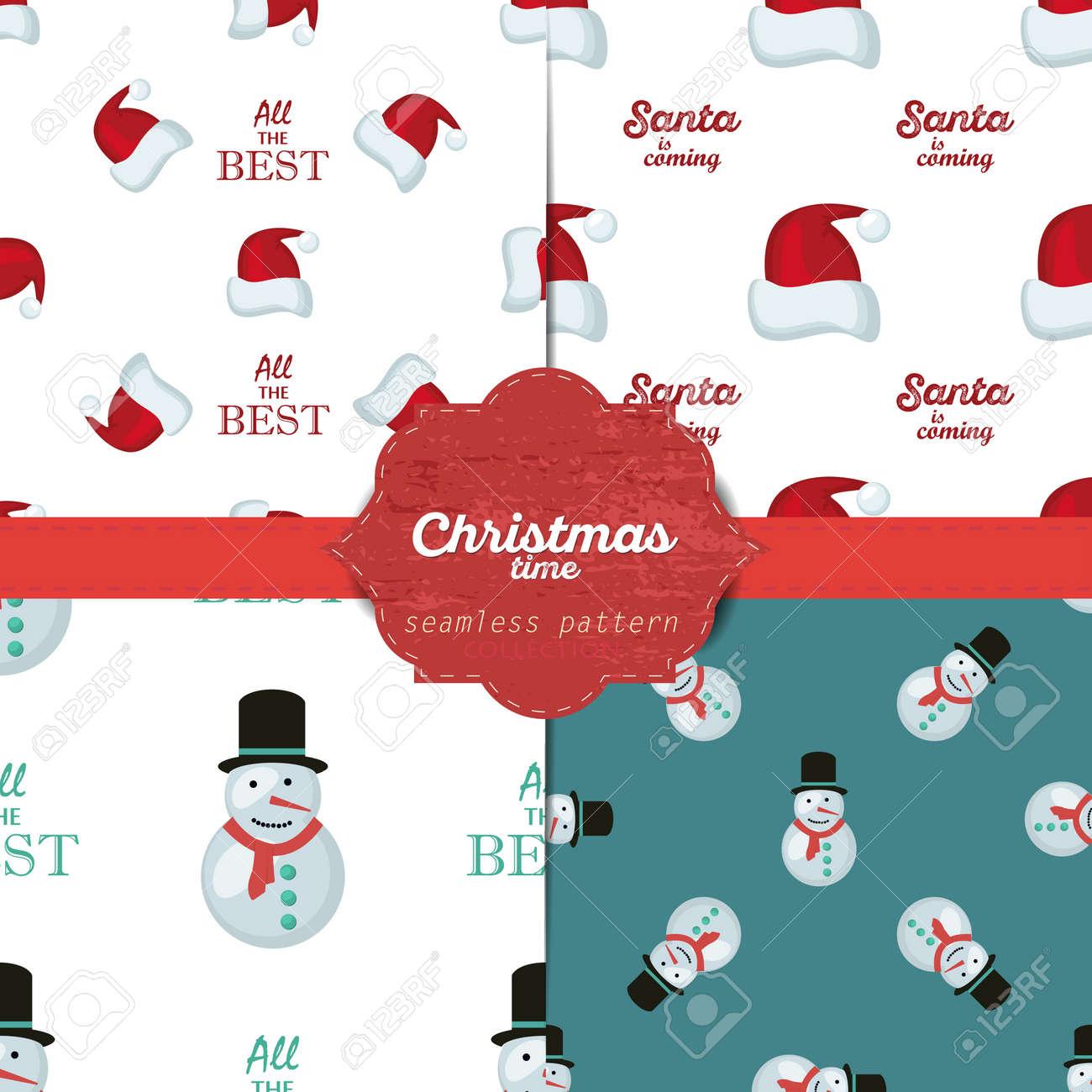 Set Von Vektor Weihnachten Nahtlose Muster Für Weihnachtskarten Und ...