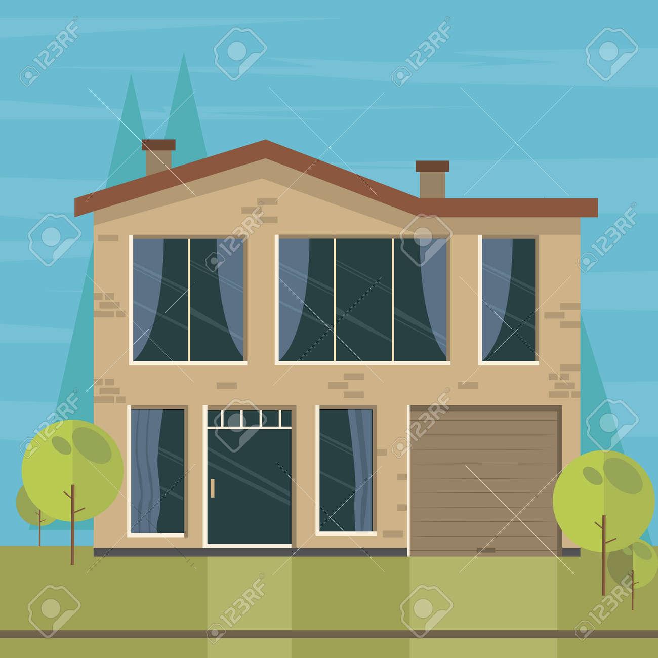 Schönes Haus Und Wohnung Banner Auf Der Natur Hintergrund. Traditionelle  Und Moderne Haus. Flache