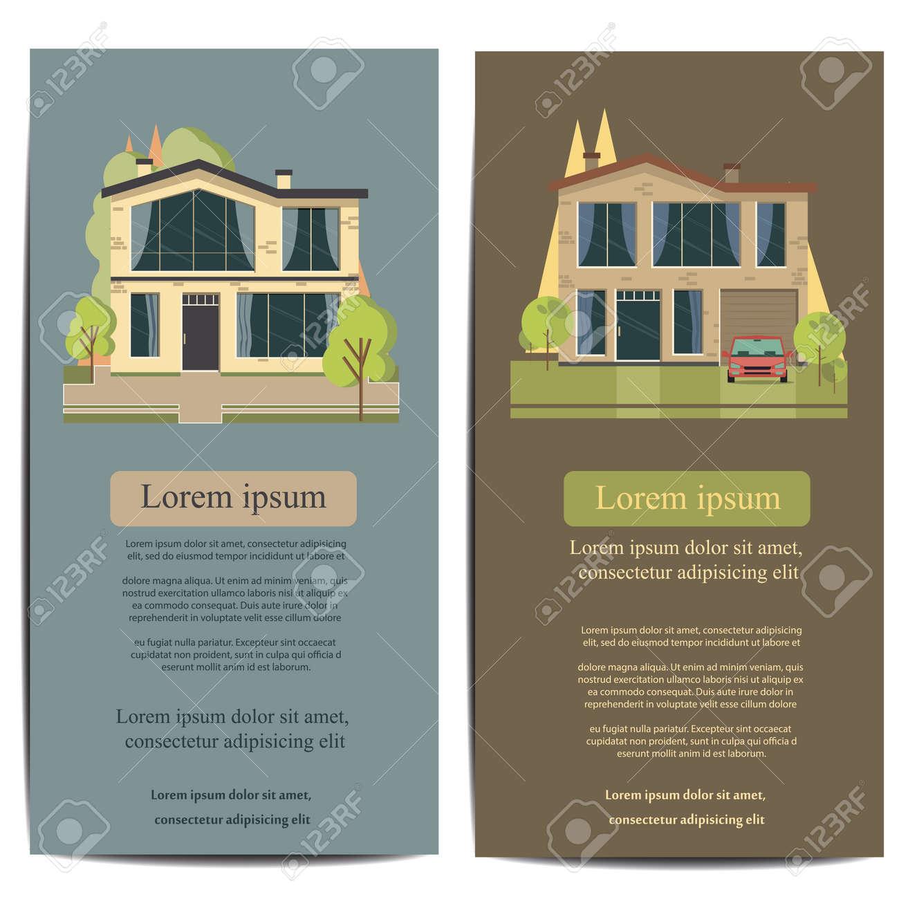 Wunderbar Schönes Haus Und Wohnung Banner Auf Der Natur Hintergrund. Traditionelle  Und Moderne Haus. Flache