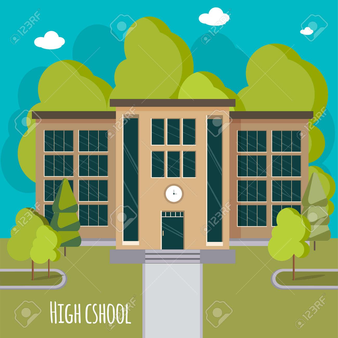 Beautiful high school facade. - 50182796