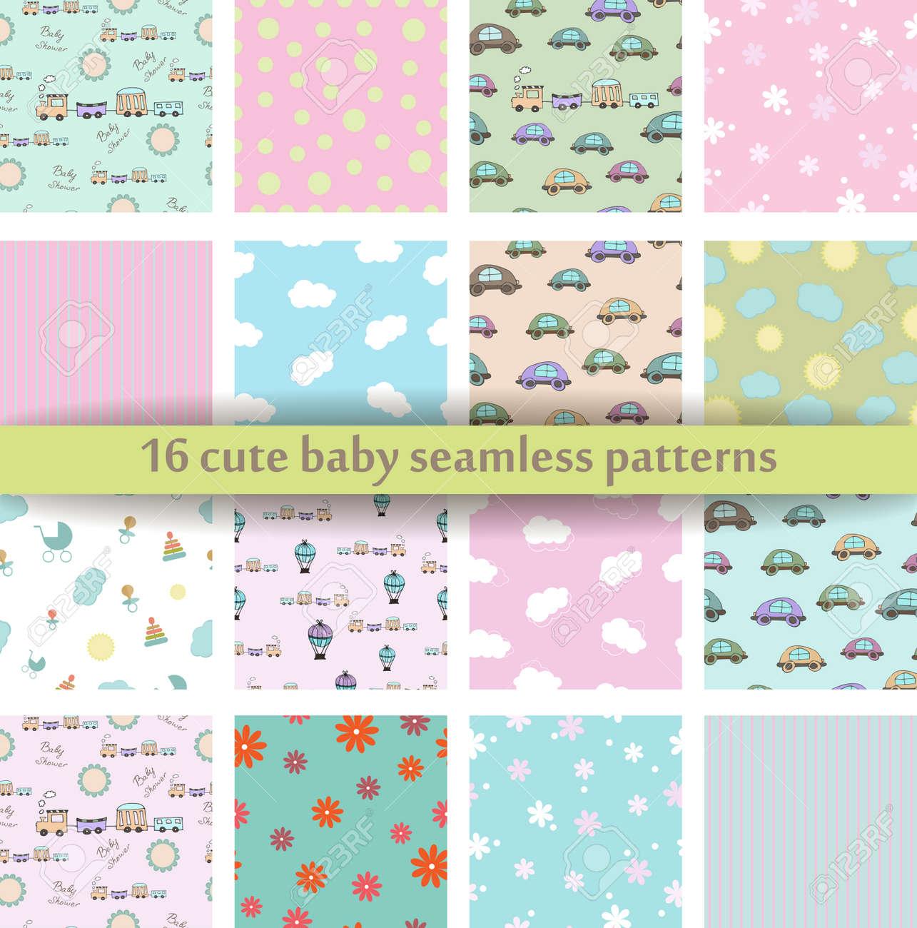Set of 16 Cute baby seamless pattern. - 51247854