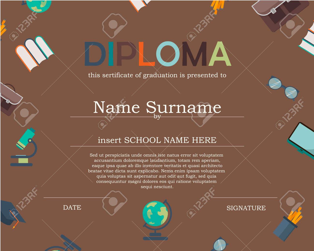 Preschool Kids Diploma certificate background design template. - 51247880