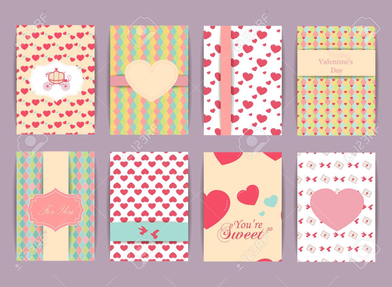 Valentinstag Und Hochzeit Tag Greteeng-Karten-Set. Weinlese Und ...