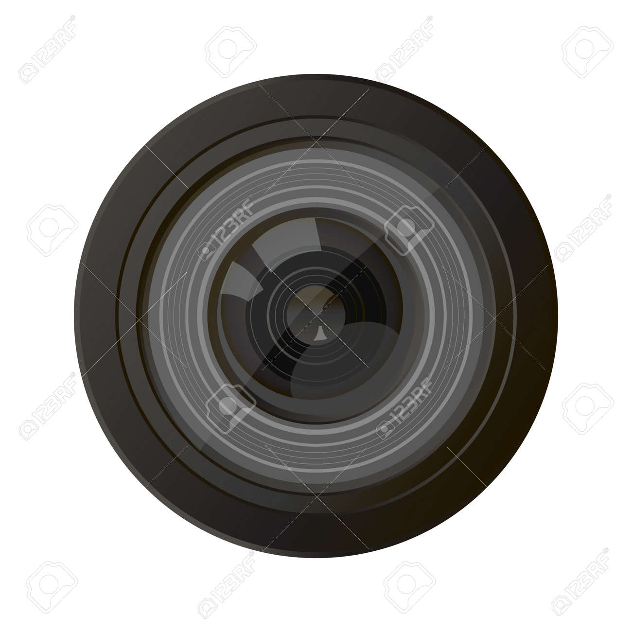 Camera photo lens, vector. A camera lens vector illustration with realistic reflections - 54474364