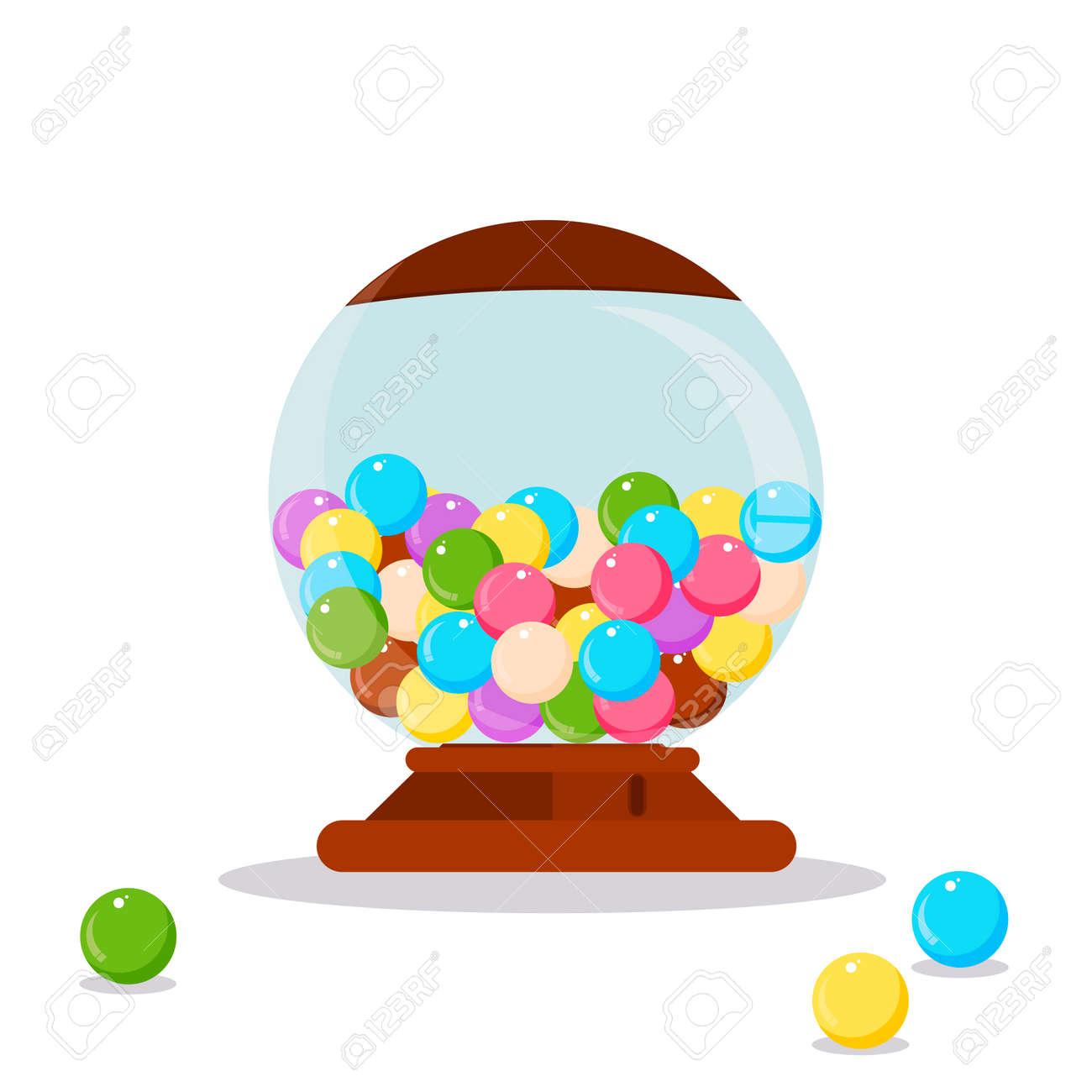 Vector Gumball Machine illustration. Gumball, bubblegum machine, dispenser vector illustration. Funny Gumball Machine. Gumball Machine colorful candy. Gumball Machine. Gumball Machine design. - 55499925