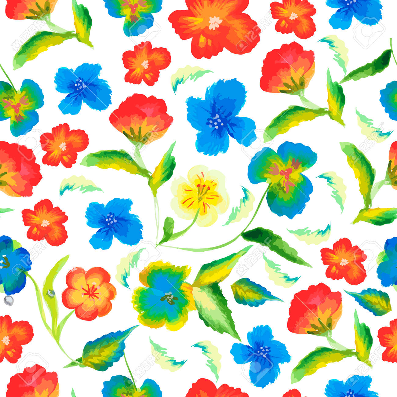 Spring Floral Seamless Pattern Summer Colorful Flowers Summer