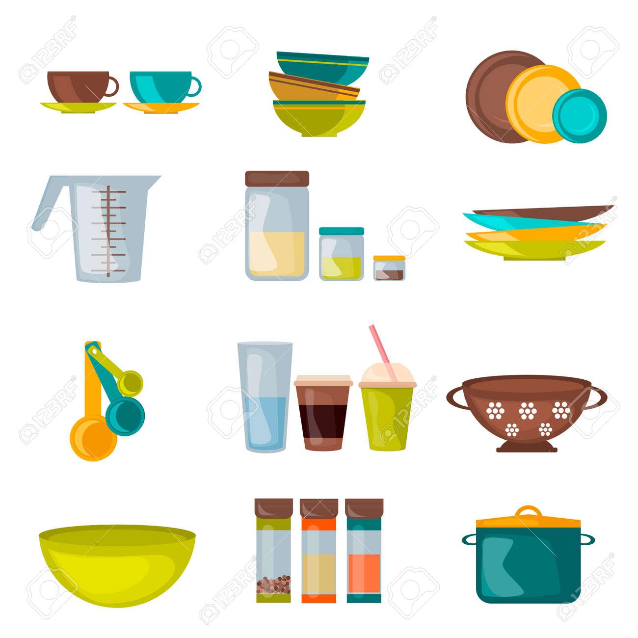 Utensilios De Cocina Y Utensilios Vector Plana. Equipos De Cocina Y ...