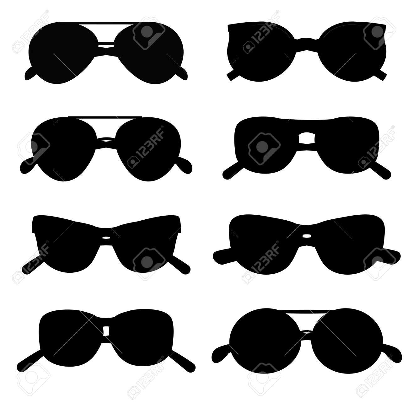 Sonnenbrille Silhouette Zubehör Augenrahmen Vektor-Sammlung Stil ...