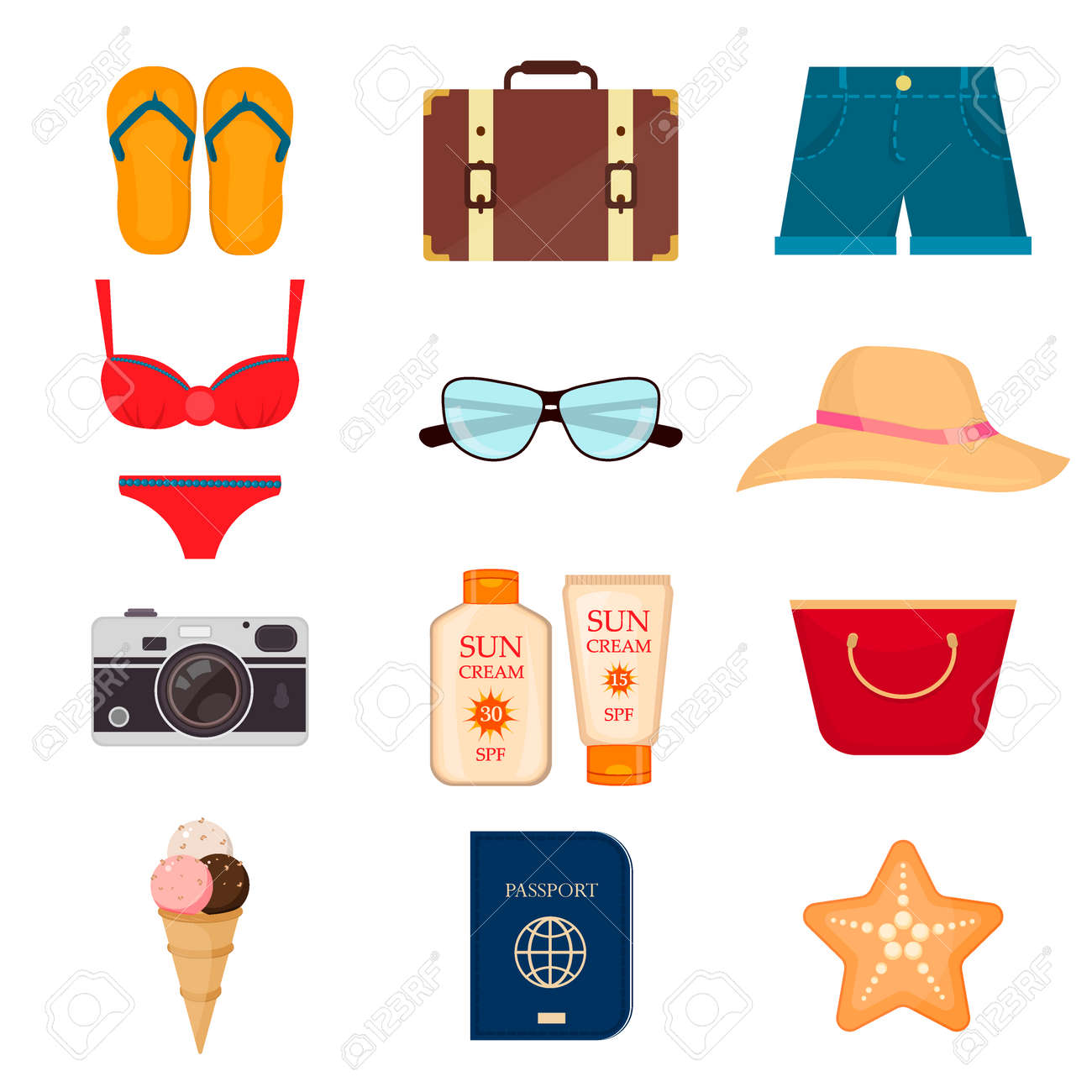 Collection of summer icons in flat design vector. Set of realistic summer icons and objects. Summer travel icons and vacation summer icons. Tourism summer icons. Beach season summer icons. - 55907940