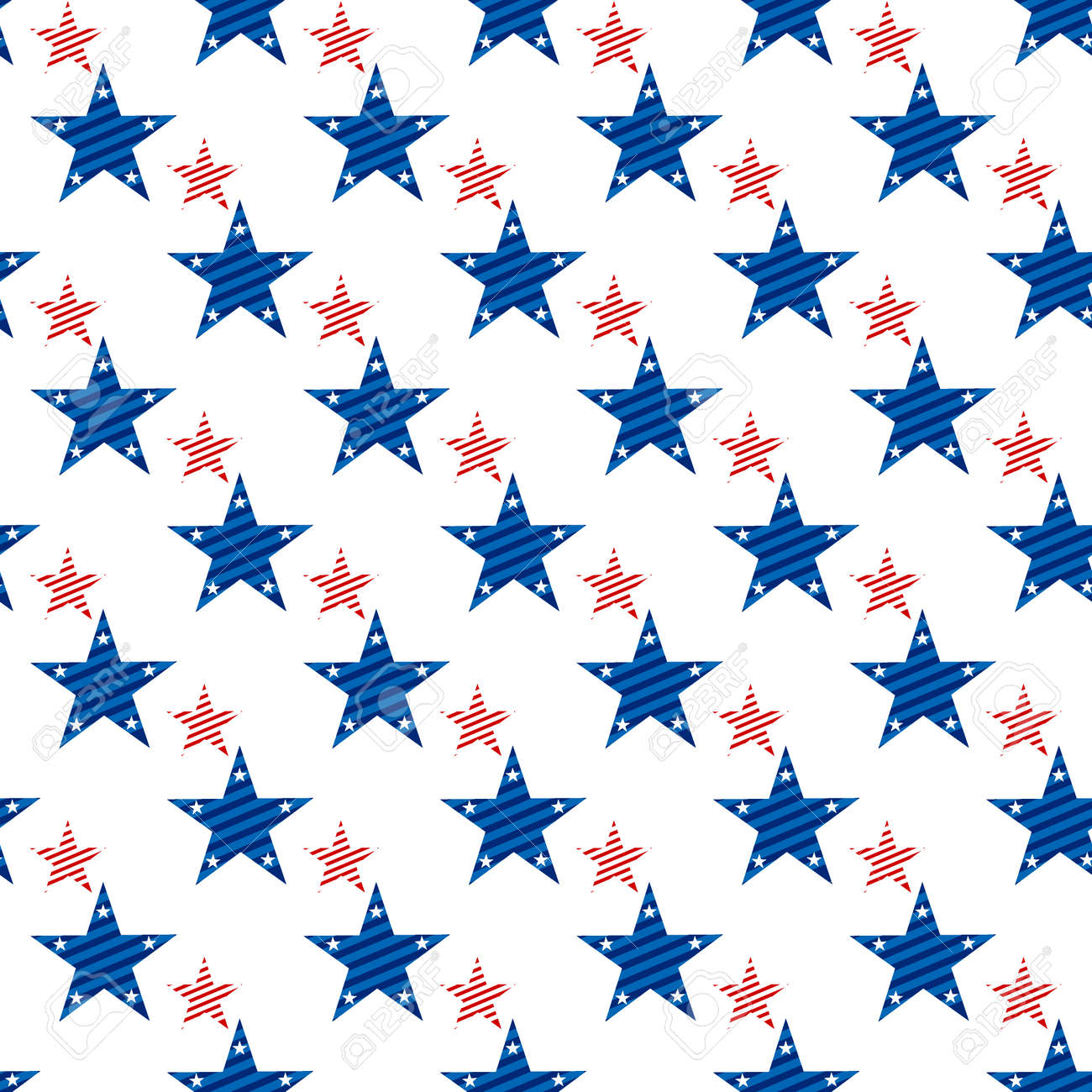 Happy Independence Day seamless pattern . Memorial day. 4th of July. Set of American backgrounds. Collection of seamless patterns in traditional red, blue and white colors. USA flag vector. - 57799833