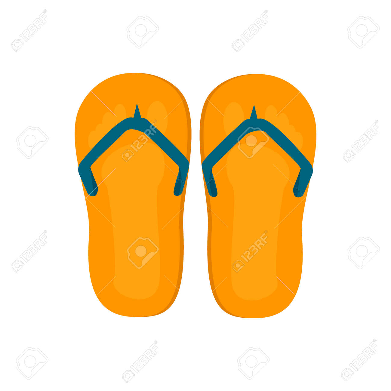 55772ce6cdb5 Pair of flip-flops isolated on a white background. Vector illustration flip  flops.