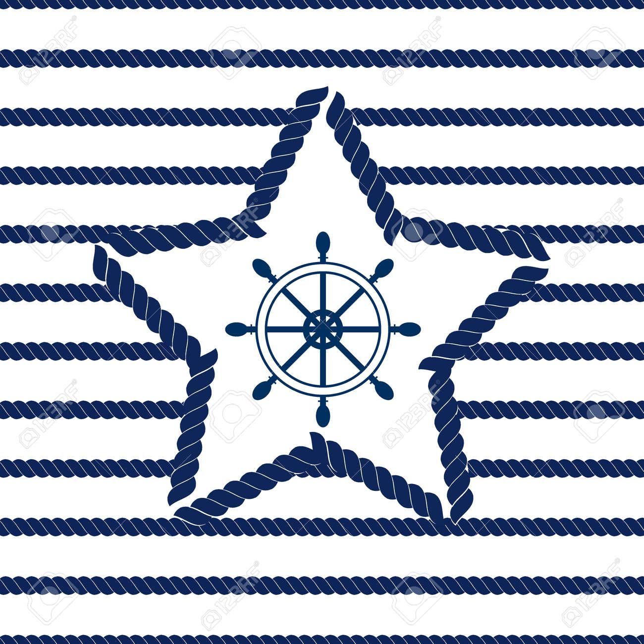 Conjunto De Mar Y Patrones De Costura Náuticas. Ilustración Del ...