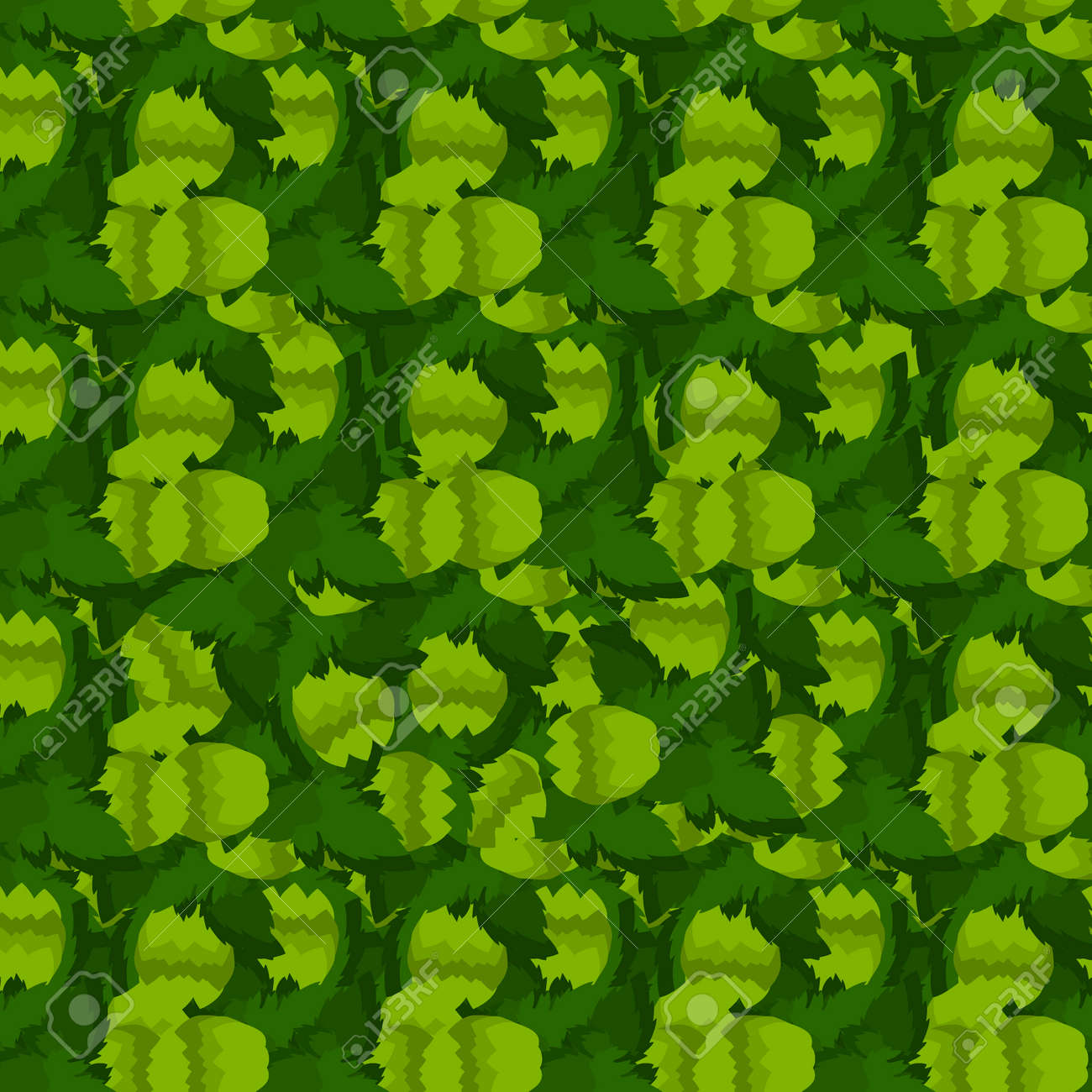 Hops For Decoration Seamless Pattern With Green Hops And Leaves Vector Illustration