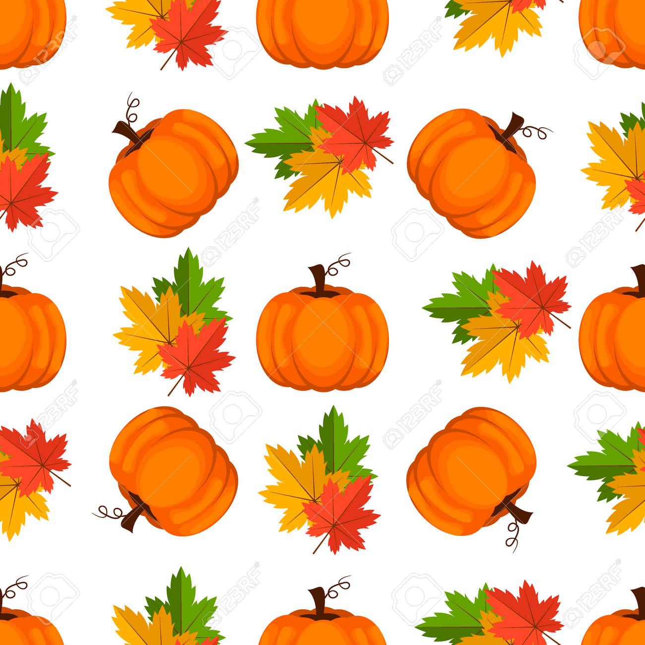 Halloween Pumpkin Vector Art.Halloween Seamless Pattern Decoration Wallpaper Art Thanksgiving