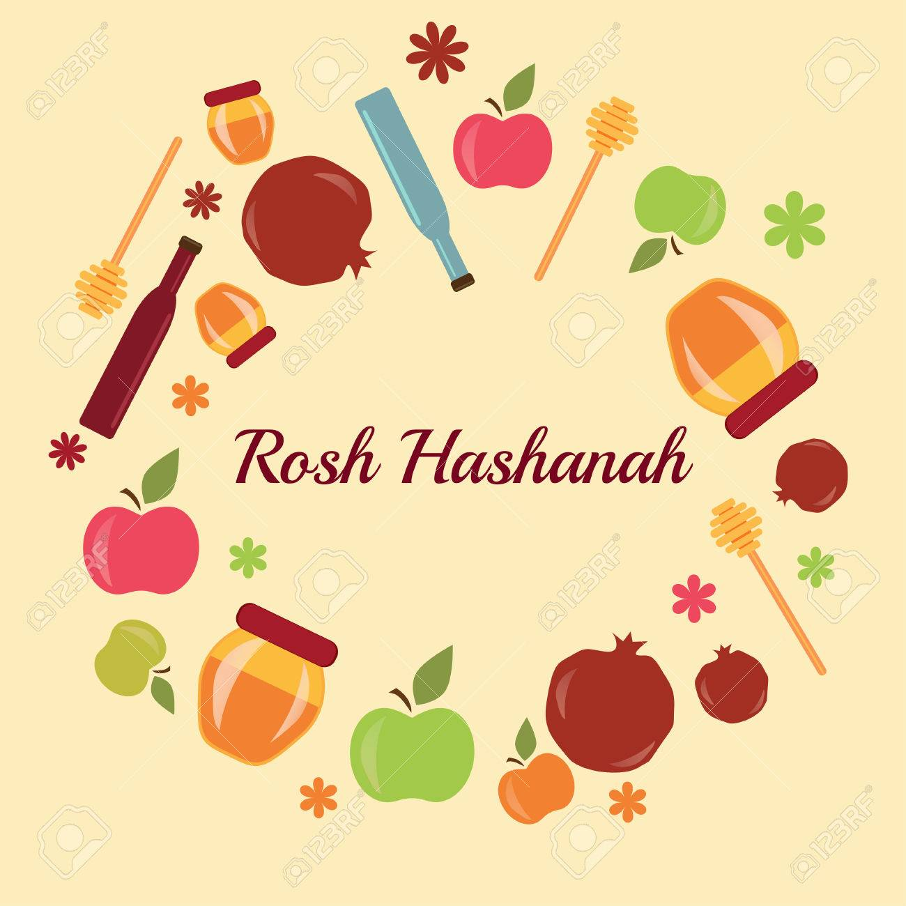 Rosh hashanah jewish new year greeting card set design with hand rosh hashanah jewish new year greeting card set design with hand drawing apple honey and pomegranate kristyandbryce Choice Image